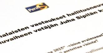 Perussuomalaisilta vastaukset hallitustunnustelija Juha Sipilän kysymyksiin