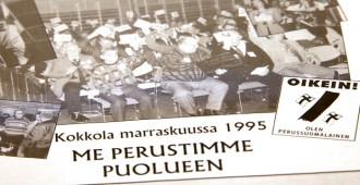 Joko siitä on 20 vuotta? PS:n ensimmäinen puoluekokous järjestettiin Kokkolassa vuonna 1995