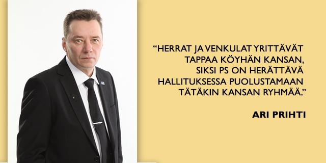 Varapuheenjohtajaehdokas Ari Prihti: Hallituskauden jälkipuolisko suunnattava puolueen linjan kohentamiseen oikealle tielle