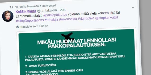 """Kansanedustaja Rami Lehto moittii palautuslentojen häiriköintiin yllyttäviä: """"Matkustajien tulee noudattaa miehistön käskyjä"""""""