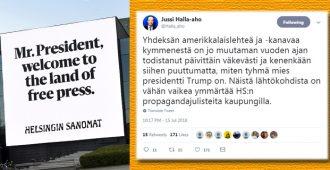 """Jussi Halla-aho toivottaa Trump ja Putinin tervetulleeksi, kommentoi eilistä """"kiljukaulojen"""" torikokousta"""