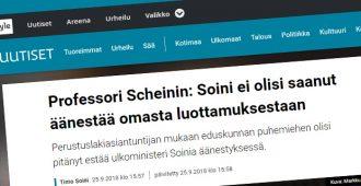 Perustuslakiasiantuntija Martin Scheinin on väärässä – Soinilla oli perustuslain määrittelemä oikeus osallistua omaan luottamusäänestykseensä