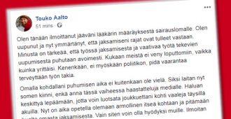 """Touko Aalto sairauslomalle – """"jaksamiseni rajat ovat tulleet vastaan"""""""