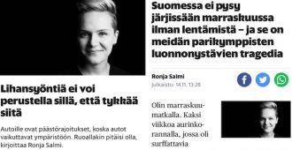 Ronja Salmi 2016: Lihansyöntiä ei voi perustella sillä, että tykkää siitä – Ronja Salmi 2018: Lentämistä voi perustella sillä, ettei pysy järjissään sitä ilman
