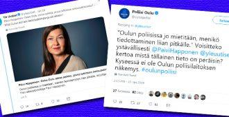 """Ylen sota todellisuutta vastaan kiihtyy – Oulun poliisi lähetti purevan vastauksen toimittajalle: """"Voisitteko ystävällisesti kertoa.."""""""