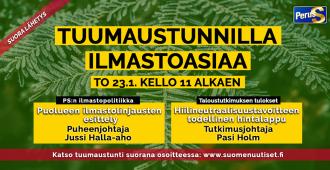 Jussi Halla-aho ja Pasi Holm torstain Tuumaustunnilla – katso suora lähetys klo 11 alkaen