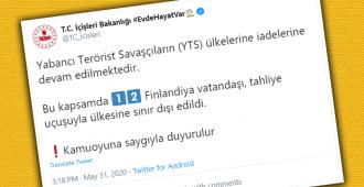 """Turkki kutsuu al-Hol-palaajia """"vierasmaalaisiksi terroristitaistelijoiksi"""", Suomen ulkoministeriön mukaan kyse on """"kolmesta leiriltä paenneesta perheestä"""""""
