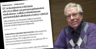 Koskenkylä: Elvytysrahaston laillisuus kyseenalainen – EU-oikeuspalvelun arvioinnit eivät ole lopullisia juridisia arvioita päätösten laillisuudesta
