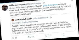 Perustuslakioppinut Martin Scheinin ankarana – uhkaa lakiprofessoria tutkintapyynnöllä, jos tämä jatkaa keskustelua hänen seinällään