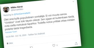 """Mikko Kärnän outo viikonloppu – kutsui turvallisesta aseenkäsittelystä muistuttanutta Libera-pomoa """"sontaläjäksi"""", arveli ylioppilas-sukutaustan altistavan """"maaseutuvihamielisyydelle"""""""