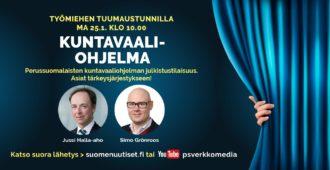 Maanantain Tuumaustunnilla: PS:n kuntavaaliohjelman esittelevät Jussi Halla-aho ja Simo Grönroos