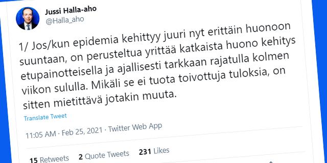 Jussi Halla-Aho Eduskuntavaalit 2021