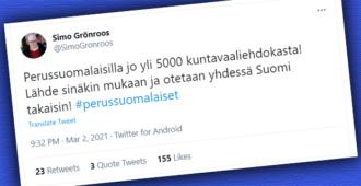 Perussuomalaisilla hirmulukemat kuntavaaliehdokkaiden määrässä – 5000 ehdokkaan historiallinen rajapyykki rikki