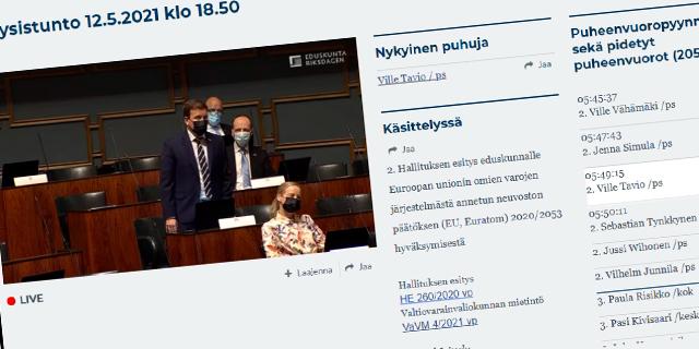 EU-paketin käsittely keskeytyi dramaattisesti, perustuslakivaliokunnan ratkaistava pöydällepanokiista  (video)