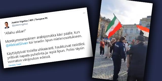 """Israel-vastaiset kiihkoilevat mielenosoittajat aiheuttivat välikohtauksen Tampereella – """"Suomessa saa kantaa Israelin lippua muslimeilta lupia kyselemättä"""""""